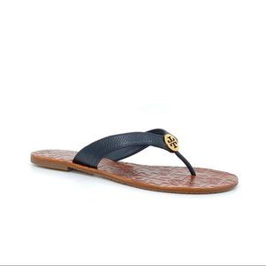 TORY BURCH ~ THORA PEBBLED LEATHER FLIP FLOPS ~ 8